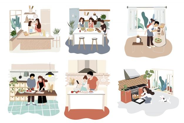 Het ontwerp van het familiekarakter in keuken met activiteit bij het koken