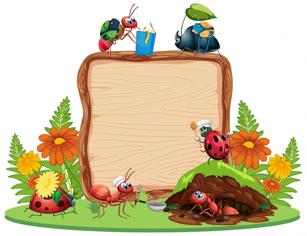 Het ontwerp van het grensmalplaatje met insecten op de tuinachtergrond