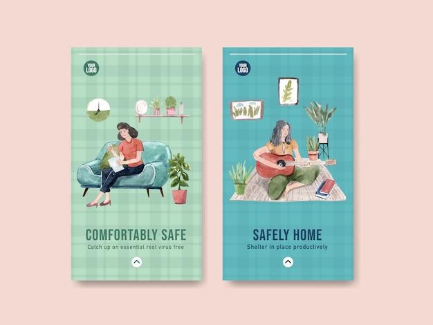 Het ontwerp van het instagramontwerp blijft thuis concept met het lezen van boek en het spelen van de illustratie van de gitaarwaterverf