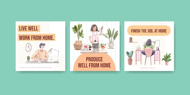 Het ontwerp van het reclamemalplaatje met mensen werkt vanuit huis en groene installatie. kantoor aan huis concept aquarel vectorillustratie