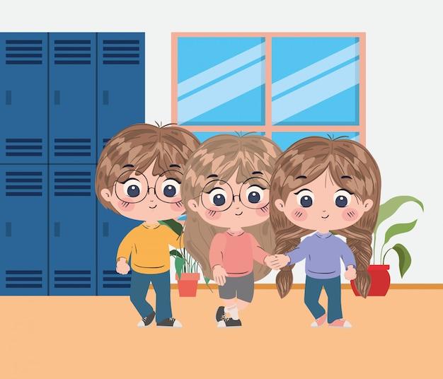 Het ontwerp van jonge geitjesbeeldverhalen, de lesstudie van het schoolonderwijs het leren klaslokaalinformatie en kennisthema vectorillustratie