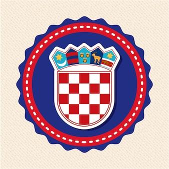Het ontwerp van kroatië over beige vectorillustratie als achtergrond