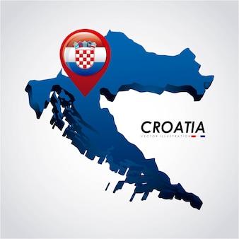 Het ontwerp van kroatië over grijze vectorillustratie als achtergrond