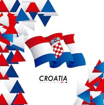 Het ontwerp van kroatië over witte vectorillustratie als achtergrond