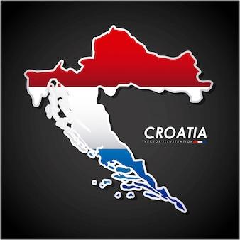 Het ontwerp van kroatië over zwarte vectorillustratie als achtergrond