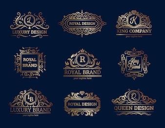 Het ontwerp van luxelabels plaatste met de vlakke geïsoleerde vectorillustratie van de premiekwaliteitssymbolen