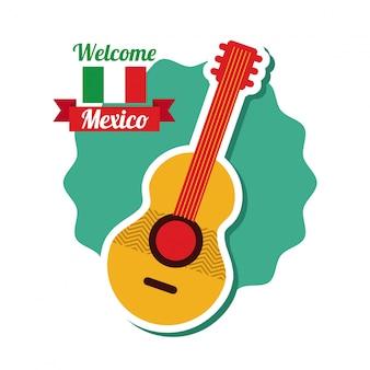 Het ontwerp van mexico over witte vectorillustratie als achtergrond