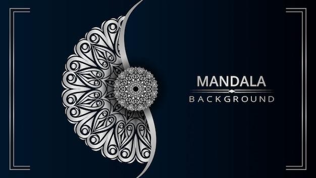 Het ontwerpachtergrond van de luxe siermandala met zilveren kleur
