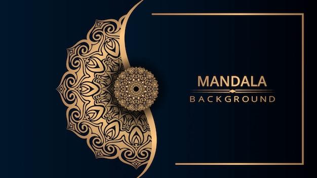 Het ontwerpachtergrond van luxe siermandala met gouden kleur