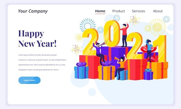 Het ontwerpconcept van de bestemmingspagina van gelukkig nieuw jaar 2021