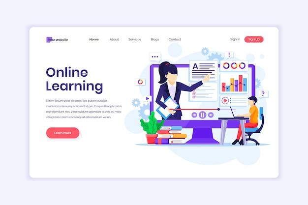 Het ontwerpconcept van de bestemmingspagina van online leervideo op computerillustratie