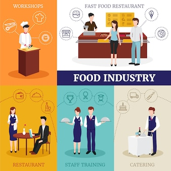Het ontwerpconcept van de voedselindustrie met mannelijke en vrouwelijke mensen die in restaurant werken