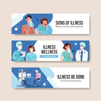 Het ontwerpconcept van de ziektebanner met mensen en artsen infographic symptomatische waterverf vectorillustratie