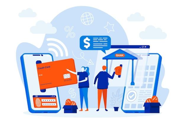 Het ontwerpconcept van het mobiele bankwezenweb met de illustratie van mensenkarakters
