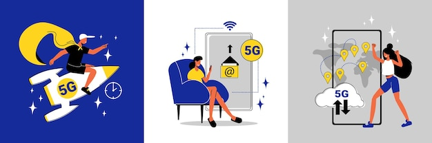 Het ontwerpconcept van hoge snelheids5g internet met menselijke karaktersraket en smartphone vlakke geïsoleerde illustratie