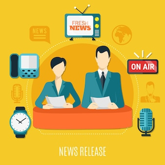 Het ontwerpsamenstelling van het nieuwsbericht met mannelijke en vrouwelijke televisieadviseurs die nieuws op lucht vlakke vectorillustratie lezen
