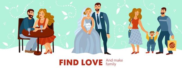 Het ontwikkelen van liefdesrelaties van romantische dating tot het maken van een gezin met kind op pastel