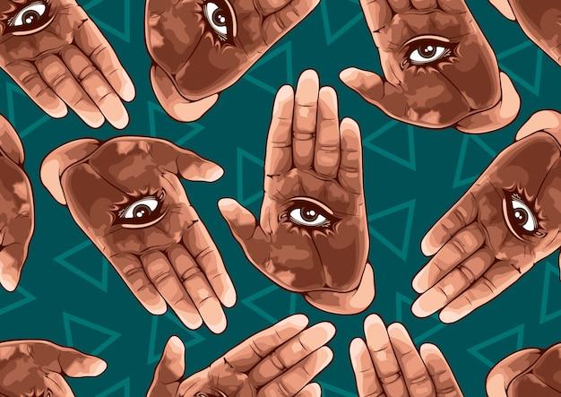 Het oog in hand naadloze patroon.
