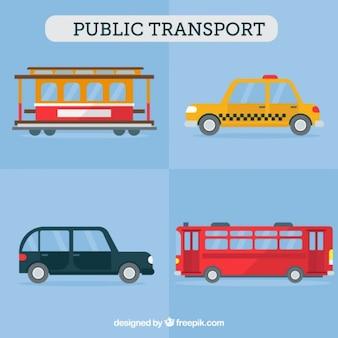 Het openbaar vervoer in plat design