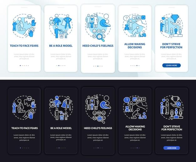 Het opvoeden van tips voor kinderen bij het instappen in het paginascherm van de mobiele app. kid geestelijke gezondheid walkthrough 5 stappen grafische instructies met concepten. ui, ux, gui vectorsjabloon met lineaire nacht- en dagmodusillustraties