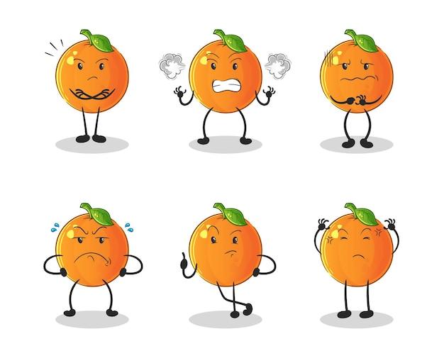 Het oranje boze groepskarakter. cartoon mascotte