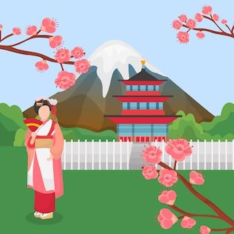 Het oriëntatiepunt van japan met traditionele japanse aziatische karaktergeisha en bloeiende kersensakura