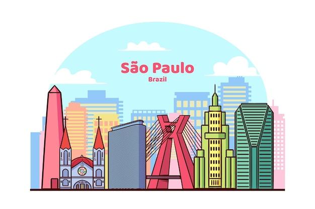 Het oriëntatiepunt van sao paulo in levendige kleuren