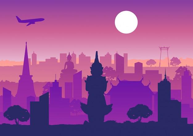 Het oriëntatiepunt van thailand, het silhouetontwerp van het overzicht