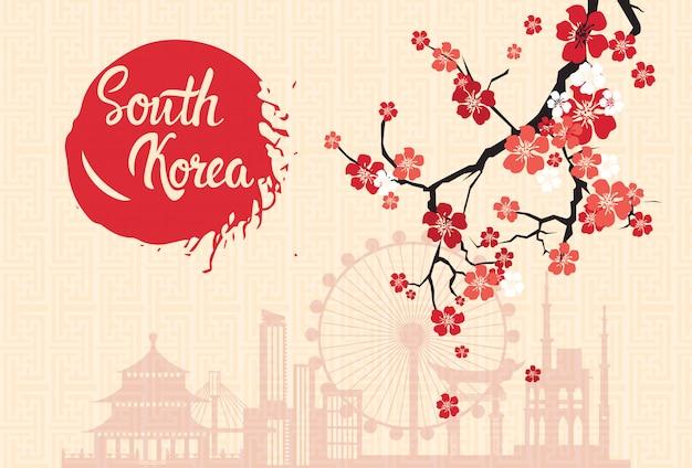 Het oriëntatiepuntensilhouet van zuid-korea dat met sakura blossom retro poster van seoel wordt verfraaid