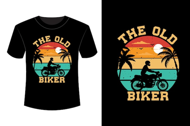 Het oude biker-t-shirtontwerp vintage retro