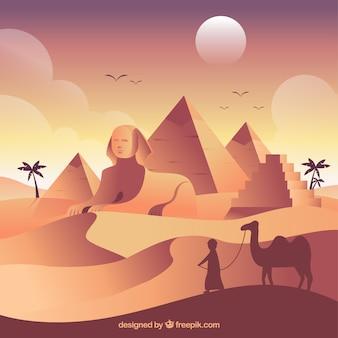 Het oude landschap van egypte met vlak ontwerp