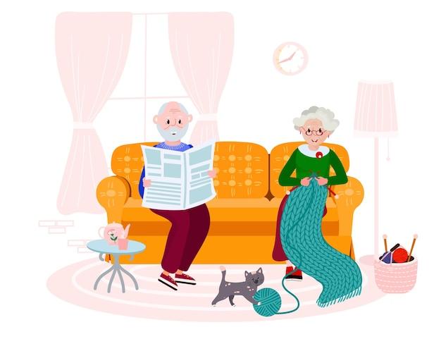 Het oude paar zit in ruimte. senior vrouw brei quilt van werf. gelukkig oude man krant lezen.