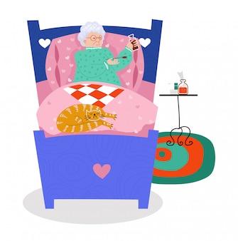 Het oude vrouwenkarakter en de kat leggen bed, de oude vrouwelijke zieke persoon rust slechte gezondheid op wit, illustratie.