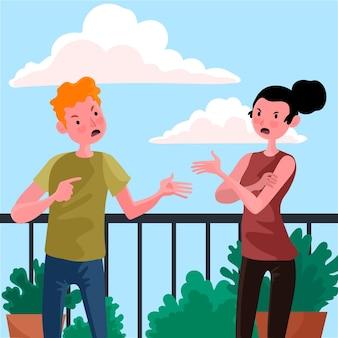 Het paar is illustratieconcept strijdig