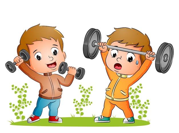 Het paar jongens doet gewichtheffen met de halter in de tuin van de illustratie