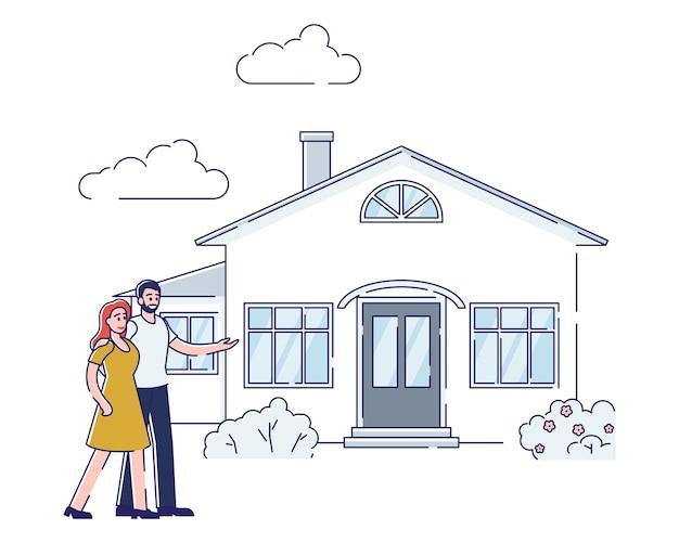 Het paar koopt huis het concept van de onroerende goederenhypotheek