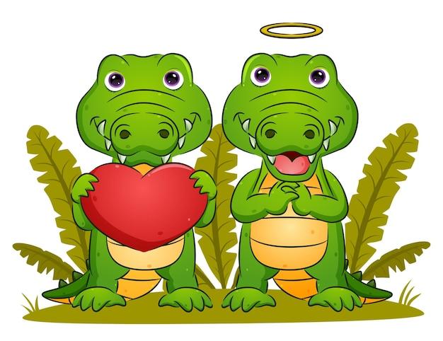 Het paar krokodillen houdt de grote liefde voor illustratie vast