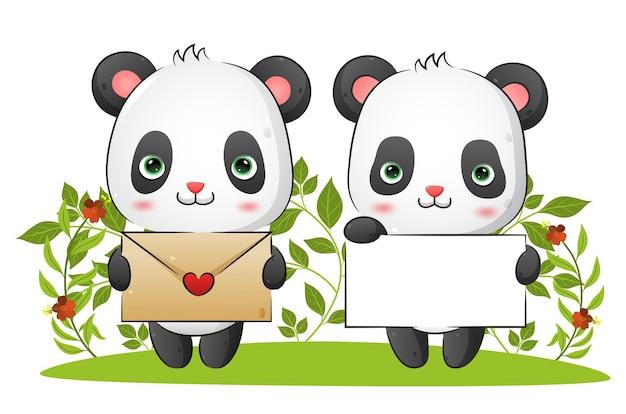 Het paar lieve panda's houdt een liefdesbrief en een blanco papier vast ter illustratie van de valentijnskaart