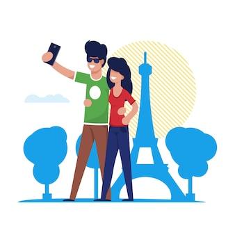 Het paar maakt selfie in de toren parijs van eiffel