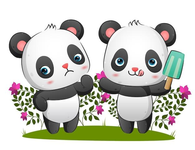 Het paar panda's eet het ijs terwijl een ander een droevige uitdrukking geeft