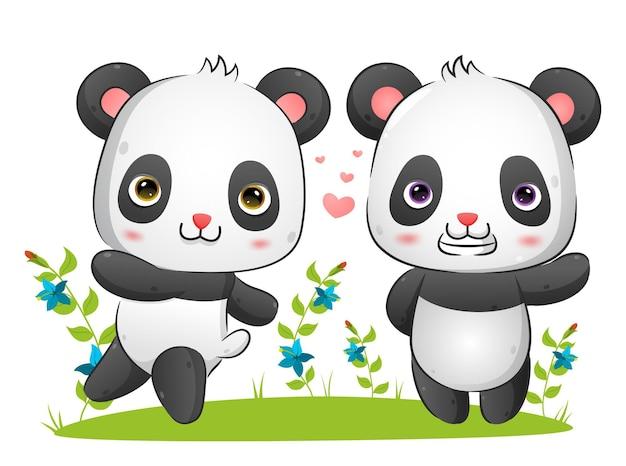 Het paar panda's rent en speelt samen in het park illustratie