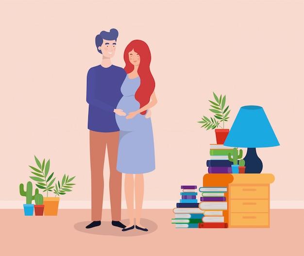 Het paar van de zwangerschap huisvest plaatsscène