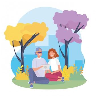 Het paar van het meisje en van de jongen met struikeninstallaties en bomen