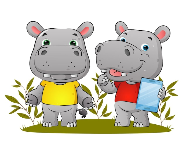 Het paar van het nijlpaard houdt de tablet vast en legt iets uit illustratie