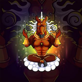Het paard god esport mascotte ontwerp van illustratie
