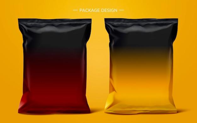 Het pakketontwerp van de snackfoliezak op geel oppervlak, 3d illustratie