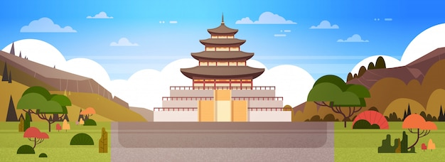 Het paleis van korea of de mening van de tempelmening aan traditioneel zuid-koreaans de bouw beroemd oriëntatiepuntoriëntatiepunt
