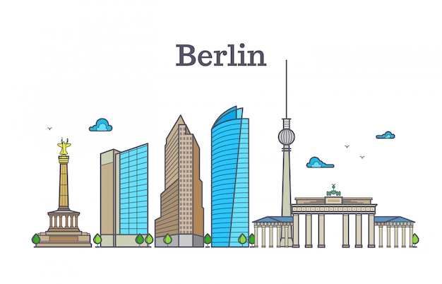 Het panorama van de het silhouethorizon van berlijn, de vectorillustratie van het stadslandschap