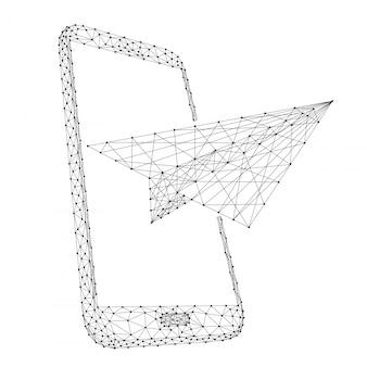 Het papieren vliegtuigje vertrekt vanaf een smartphone, het concept van communicatie en het doorsturen van berichten vanuit veelhoekige zwarte lijnen en stippen.