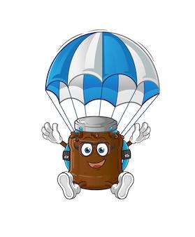 Het parachutespringende karakter van chocoladejam. cartoon mascotte